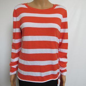 Crown & Ivy Orange Striped Sweater Size Small